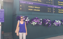 Our fantastic host Sam Buffie at the All England Lawn Tennis Club, where Wimbledon is held.