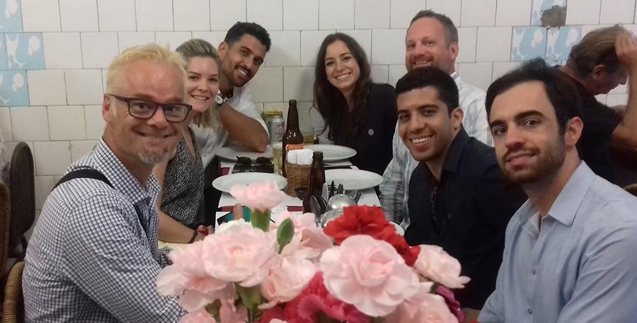 Roadtrips team at dinner