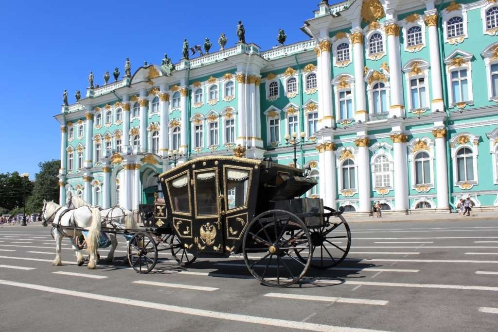 Converted coach near Hermitage Museum
