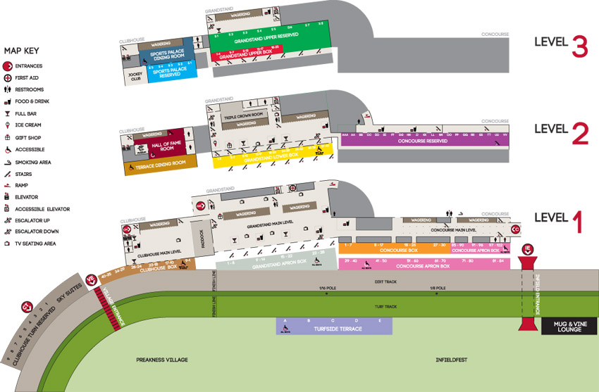 arena preakness map